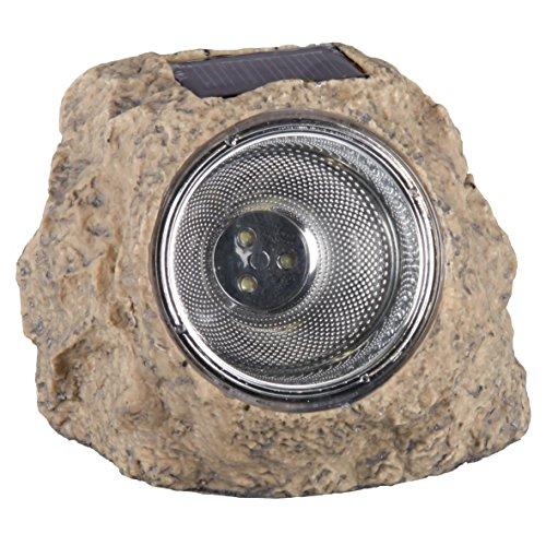 Lampe de jardin Smartwares 5000.154 Naxos – En forme de pierre – Lampe solaire