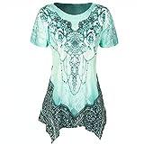 ZEELIY- Blusen Damen Sommer 2019 O-Neck Plissee Plus Size Kurzarm Bluse Top Tunika Shirt
