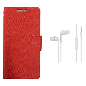 CellRize Flip Cover For Samsung Tizen Z2 With White Headphones-Red