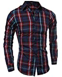store-online-camisas-para-hombre-hombre-camisa-de-manga-larga-slim-fit-men-classic-plaid-long-sleeves-shirts-rojo-l