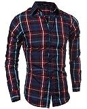 Hombre Camisa De Manga Larga Slim Fit Men Classic Plaid Long Sleeves Shirts Rojo L