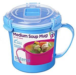 Sistema SI21107-2 Micro-ondes Tasse à soupe Plastique Bleu 14,2 x 11,4 x 11,9 cm 656 ml