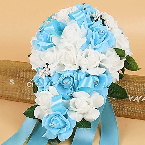Artificiale schiuma rose fiore fatto a mano, mix color wedding bouquet da sposa o damigella d' onore posy perla strass plant leaf vine raso decor, azzurro