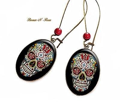 Boucles d'oreilles Skull bijou fantaisie cadeau tête de mort fleurs mexicain