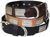 Fronhofer Hundehalsband Naturleder 3 cm Zierteile antiksilber Countrystyle Schmuckhalsband, 18271, Farbe:Natur, Größe Hundehalsband:M Halsumfang 40-47 cm