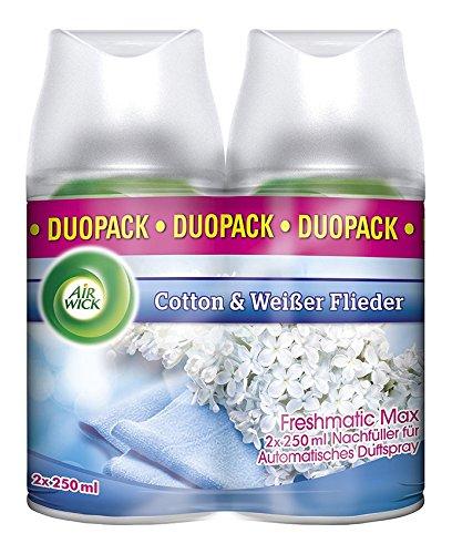 Air Wick Freshmatic Max Duo Pack Cotton & Weißer Flieder, automatischer Lufterfrischer Nachfüller, 6x250 ml -