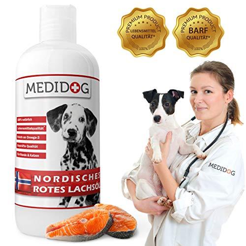 Medidog 1 Liter Rotes Omega 3 Lachsöl, Naturtrüb, Super-Premium Lebensmittelqualität, Kaltgepresst, Lachsöl für Hunde und Katzen, Barf Öl mit lebenswichtigen Fettsäuren