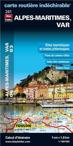 Alpes-Maritimes (06), Var (83) - Carte Départementale Routière et Touristique (échelle 1/180 000)