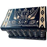 Caja puzzle nuevo grande azul caja de joyas talladas caja mágica misterio caja de madera rompecabezas caja secreta trinket complicado cajón de madera caja escondida