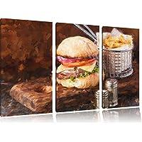 Cheeseburger con patatine fritte pennello effetti immagine 3 PC immagine su tela 120x80 su tela, XXL enormi immagini completamente Pagina con la barella, stampe d'arte sul murale cornice gänstiger come la pittura o un dipinto ad olio, non un manifesto o un banner,