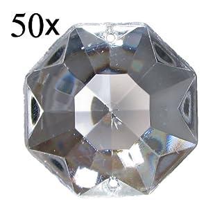 50x Antik Kristall Octagon ~ Koppe 14mm 2 Loch Crystal ~ Kronleuchter Lüster