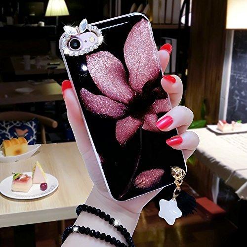iPhone 7 Coque en Siliocone iPhone 7 Housse Diamant Mode Luxe Miroir Bling Glitter iPhone 7 Silicone Coque Luxueux Crystal Scintiller Coque Bague iPhone 7 Case Coque Rose Romantique Élégant Fleur Cour Pretty
