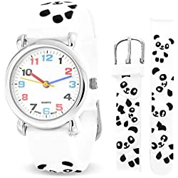 Bling Jewelry White Black Baby Panda Animal Kids Watch Stainless Steel Back