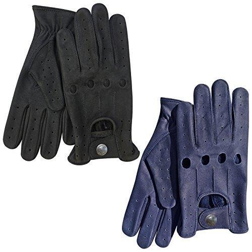 Hommes Qualité Premium Classic Gants De Conduite Véritable Cuir En Style De Jeans Bleu, Noir512 - Bleu, Medium