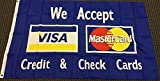 Home and Holiday Flags We Accept Visa MasterCard Flag Store Banner Advertising Business Credit Sign 3x5