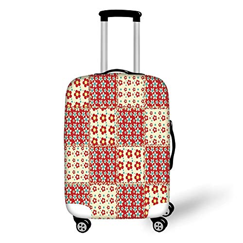 Travel Luggage Cover Suitcase Protector,Cabin Decor,Traditional Quilt Pattern with Spring Garden Flowers Daisies Decorative,Light Yellow Turquoise Red,for Travel L -