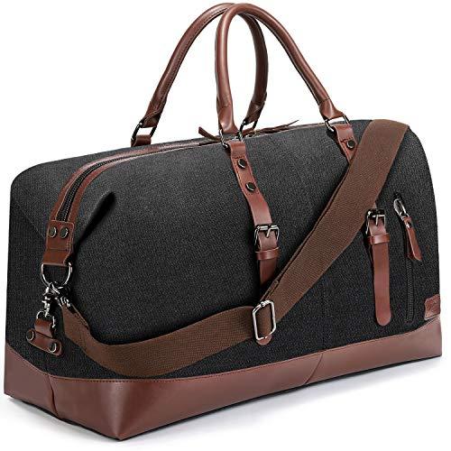 Fresion Weekender Tasche, Reisetaschen Canvas PU Leder Reisegepäck Großräumige Handtasche, Overnight Duffel Bag Travel Tasche Tote Satchel Segeltuch Holdall (Schwarz)