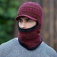 BLACK ELL Sombreros de Punto de otoño e Invierno de los Hombres, Babero de Dos Piezas, Gorra de máscara cálida y Confortable, 5
