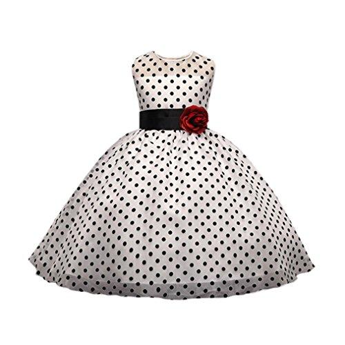 Uomogo® principessa ragazza fiore festa matrimonio vestito 4 a 8 anni (età: 7-8 anni, bianca)