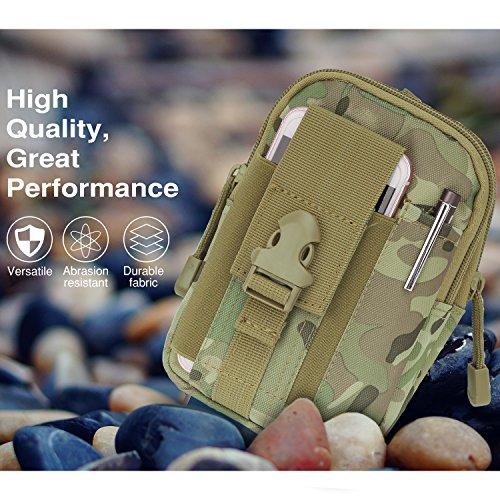 """MoKo Marsupio Sportivo Outdoor, Borsa MOLLE EDC Porta Cellurari Multi-uso con la Chiusura in Cerniera per il Smartphone fino a 6.2"""", per iPhone X / 8 Plus / 8, Samsung S8 Plus / S8 - Pitone Nero Mimetico Scuro Nero"""