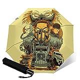 Mad Max Fury Road - Ombrello pieghevole in 3 parti, design creativo, con doppia stampa 3D, anti-UV, ultraleggero, leggero, infrangibile, compatto