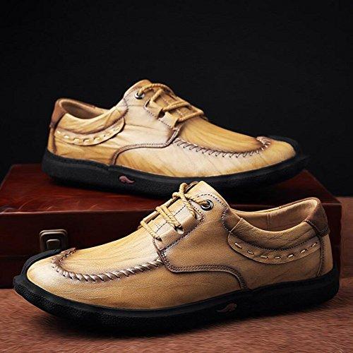 Hommes Casual Hommes Casual Chaussures En Cuir Baskets De Mode Confort En Plein Air Chaussures De Course Léger Conduisant Des Chaussures ( Color : Black3-41 ) Khaki1-42