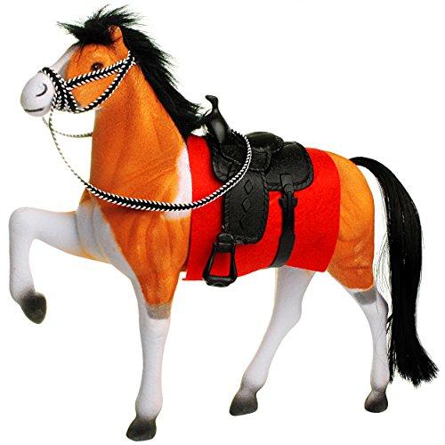 alles-meine.de GmbH großes Pferd -  braun / weiß - mit abnehmbaren Sattel  - 25 cm hoch - ideal auch für 29 cm Spielzeug Puppen / Pferde beflockt - weiches Fell - aus Kunststof..