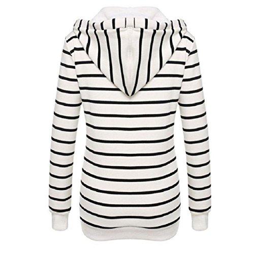 OverDose Stripe lose beiläufige Langarm-Sweatshirt Pullover Pullover Tops Weiß