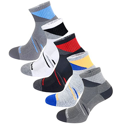 Aaronano 5 Pairs Men Half Cushioned Terry Athletic Running Socks Size(5.5-11 UK/38-46 EU)