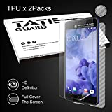 [2 Pack Full Cover TPU] HTC U Ultra Screen Protector,TATE GUARD Full Cover TPU Screen Protector [Bubble Free] [ High Definition] [Anti Scratches] + [1 Pack Full Coverage Carbon Fibre Back Protector]