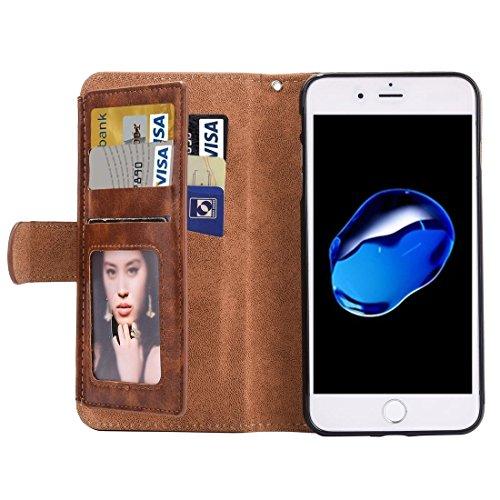 Hülle für iPhone 7 plus , Schutzhülle Für iPhone 7 Plus Trennbare Crazy Horse Texcture Horizontale Flip Reißverschluss Ledertasche mit Card Slot && Brieftasche & Foto Frame & Lanyard ,hülle für iPhone Brown
