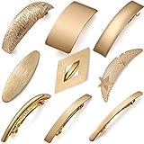 9 Stück Retro Haarspangen Goldene Metall Große Haarnadeln Einfache Französisch Clip Diamant/Mond/Sterne Matt Stil