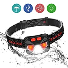 Head Torch, Ofuca IPX45 Waterproof LED Headlamp Headlight, Motion Sensor USB Rechargeable Head Lamp, Super Bright 800 Lumens COB LED Headtorch for Running, Camping, Hiking, Climbing