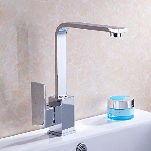 YSRBath Moderne Waschbecken Waschtischarmatur Antike Heiße und Kalte Quad Flat Röhrendrehung Mischbatterie Bad Küche Wasserhahn Badarmatur