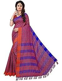 Krishna Enterprises Soft Linen Cotton Silk Orange And Blue Color Women Saree, Ladies Saree 500 Rupees, Saree 200...