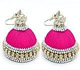 thread trends Pink Silk Thread Plastic Jhumki Earrings For Women