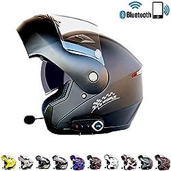 LICIDI Moto Bluetooth Casque Anti-buée Double lentille Casque intégral avec Bluetooth FM Intégré Double Haut-Parleur Bluetooth Casque avec Microphone Casque,F,XL