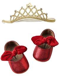 Fossen Zapatos Bebe Niña Bautizo - Zapatos de bebe con lentejuelas + Diadema