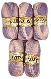 ALIZE 5 x 100 g Strickwolle mehrfarbig mit Farbverlauf, 500 Gramm Strickgarn mit 20% Wolle-Anteil (flieder rosa 6668)