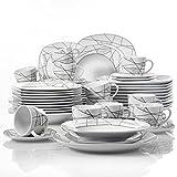 """VEWEET """"Serena Servizio da tavola in porcellana Servizio combinato 60 pezzi 12 tazze da caffè 175ml,12 piattini,12 piatti da dessert,12 piatti fondo e12 piatti piani per 12persone"""