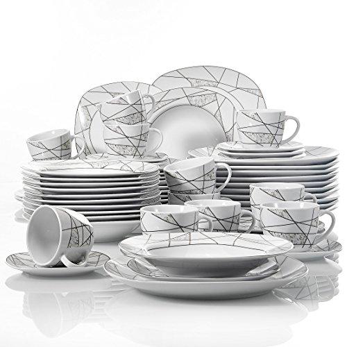 VEWEET, Tafelservice Serie 'Serena' aus Porzellan 60-teilig| Geschirrset beinhaltet Kaffeetassen 175 ml, Untertasse, Dessertteller, Speiseteller und Suppenteller| Geschirrservice für 12 Personen