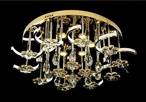 Preisvergleich Produktbild LED Europäische Schlafzimmer Wohnzimmer Runde Edelstahl Lampe Körper Kristall Deckenlampe (Carry The Light Source)