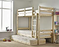 Bunk Bed with trundle and THREE mattresses - 3ft single solid pine bunk bed - HEAVY DUTY BUNK BED - VERY STRONG - extra thick ladder steps with THREE sprung mattresses