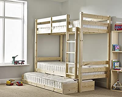 Bunk Bed with Guest Bed - 3ft Single bunkbed with pull out trundle - FAST DELIVERY - cheap UK light shop.