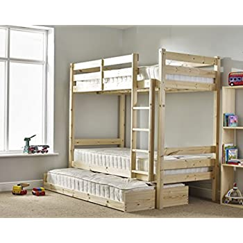 bunk bed with guest bed 3ft single bunkbed with pull out trundle fast delivery