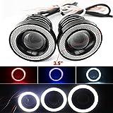 Feeldo 2pcs/lot 8,9cm 89mm 30W de voiture Vidéoprojecteur objectif ampoule de brouillard avec COB Angel Eyes circulation diurnes DRL Phare