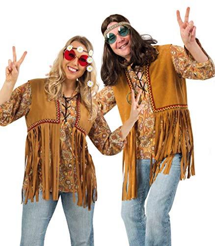 KarnevalsTeufel Kostüm-Set Hippie für Erwachsene, 5-teilig Weste, Brille, Haarband, Perücke und Peace-Kette, Blumenkinder, 60er Jahre | Karneval, Mottoparty (XL) (Hippie Love Child Für Erwachsene Damen Kostüm)