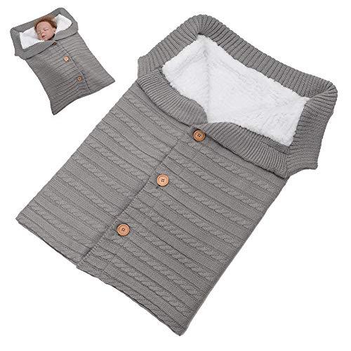 1PC Sacco a pelo per neonati Swaddle Blanket in pile Passeggino Wrap Nap Blanket Thick Knit morbida calda coperta Swaddle per bambini piccoli (Gray)