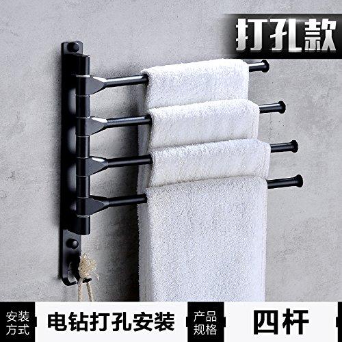 LHbox Tap Von Punch Schwarz Space Aluminium Handtuchhalter Handtuchhalter Badezimmer Wall-Double Bar Wc rotierende Falten Multi-Layer, (Punch) Tuxedo und Schwarz 4 Bar - Möbel Tuxedo