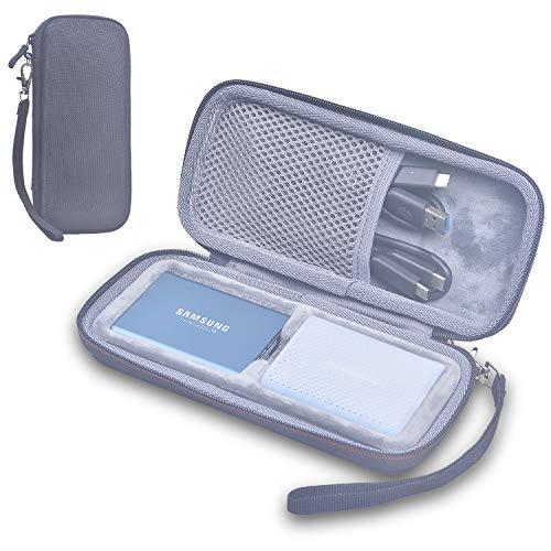 Larcenciel Étuis pour disque dur Coque SSD Samsung T5 Travel Carry Storage de protection 2pcs ,Pochette EVA antichoc dure pour Samsung T3 pour Samsung T5 / T3 / T1 Portable SSD-USB (250G 500G 1T 2T)